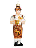 Oktoberfest Bavarian Man Glass Christmas Ornament