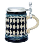 Bavarian Diamond Pattern Beer Stein Cobalt