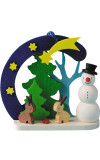 Snowman and Bunnies Wooden German Ornament