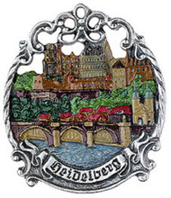 Painted Authentic German Pewter Christmas Ornament