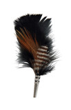 Feather Hat Pin Black and Brown