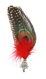Edelweiss and Peacock Feather Hat Pin