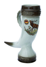 Half Liter Ceramic Drinking Horn with Elk Motif, Hand Made in Germany