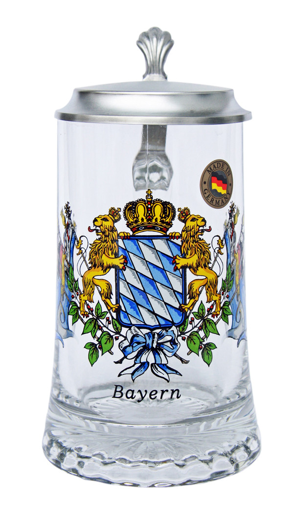 Custom Engraved Bavaria Crest Glass Beer Stein