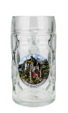 Authentic .5 liter German Mass Krug with Neuschwanstein Decoration