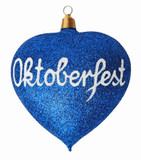 Oktoberfest Glitter Heart Glass German Christmas Ornament