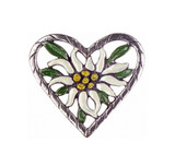 Edelweiss Heart German Pewter Pin