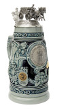 Check out the ornate lid on this cobalt beer stein