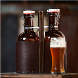 Leather Beer Growler Caddy