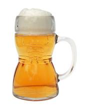 Glass Dirndl Beer Mug, 0.5L Made in Germany, Full of Beer