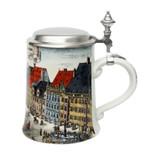 Munich Marienplatz Market Porcelain Beer Stein