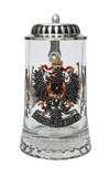 Deutschland Pewter Eagle Glass Beer Stein