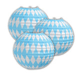 Bavarian Flag Oktoberfest Party Paper Lantern Decoration 3 pack