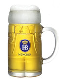 Lederhosen Hofbraeuhaus HB Glass Beer Mug 0.5 Liter