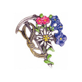 Alpine Hiking Flowers German Pewter Pin