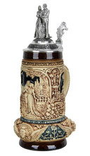 Antique Style German Beer Stein with Pewter Lid