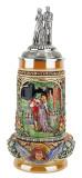 Wedding Beer Stein with Pewter Bride and Groom Figure Lid