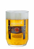 Authentic Paulaner 0.5 Liter Beer Mug with Traditional Lederhosen