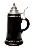 Black Glaze Smooth Body Beer Stein with Gold Accents