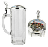 Faceted Glass Beer Stein with Porcelain Munich Inlay Lid