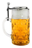 Dimpled Oktoberfest Glass Beer Mug with Flat Pewter Lid 1 Liter