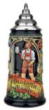 Traditional Oktoberfest German Beer Stein with Pewter Lid