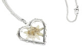 Real Edelweiss Heart Shaped Pendant German Necklace
