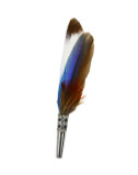Blue and Brown Feather Hat Pin