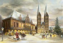 Traditional Wooden German Advent Calendar Bremen