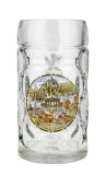 German Landmarks Dimpled Oktoberfest Glass Beer Mug 0.5 Liter