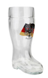 Glass Beer Boot with Traditional German Flag