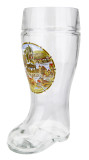 German Landmarks Glass Beer Boot 1 Liter