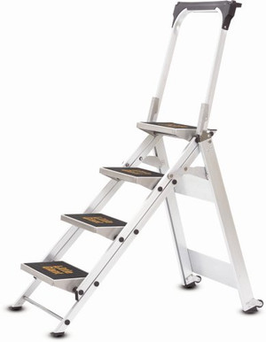Little Giant 10410BA Safety 4 Step Stepladder With  Bar And Tray