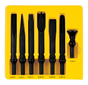 Grey Pneumatic CS807 Impact Impact Chisel .498 Turn-Type Shank 7 Pc