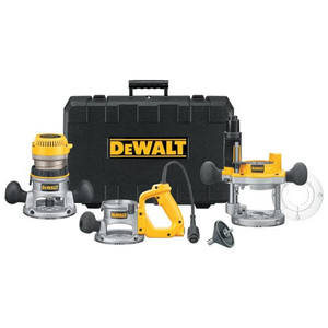 Dewalt DW618B3 2-1/4 HP Electronic VS Router Combo Kit with Fixed
