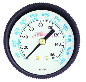 Milton 1191 Pressure Gauge 1/4 In NPT Center Back Mount 0-160 PSI