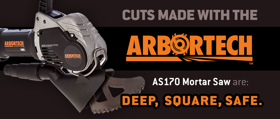 Cuts made with the Arbortech AS170 Mortar Saw are: DEEP, SQUARE, SAFE.