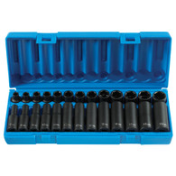 "Grey Pneumatic 1226M 3/8"" Drive Standard and Deep Length Metric Master Socket Set - 26 pieces"