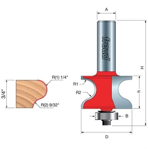 Freud 99 462 Window Sill Router Bit 1 13 32 Quot 1 4 Quot Shank