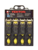 TEKTON 4-pc. 15 ft. x 1 in. Premium Ratchet Tie Downs