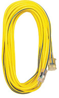 Voltec 05-00365 50-Ft 12/3 SJTW Outdoor Extension Cord with Lighted Ends stay flexible and are UL and UL listed.