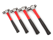 TEKTON 30409 4-pc. Ball Pein Hammer Set (8, 12, 16, 24 oz.) delivers a sure strike in comfort and feel the difference of the vibration-absorbing fiberglass handle and soft, non-slip rubber grip.