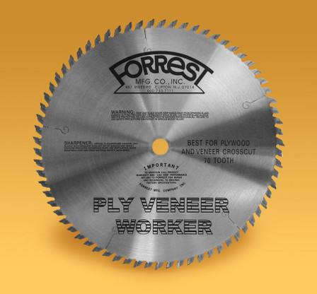 Forrest PVW12707125 12 In x 70 Tooth 1 In Bore Ply Veneer Saw Blade  Cross Cuts On Wood Veneers