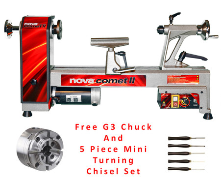 NOVA 46300C Comet II Variable Speed Midi Lathe with 48232 G3 Chuck And 9033 5 Piece Mini-Turning Chisel Set