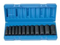 Grey Pneumatic 1213D 3/8 In Drive Deep Length Fractional Socket Set