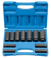 "Grey Pneumatic 1311SD 1/2"" 8-Point Deep Fractional Impact Socket Set"
