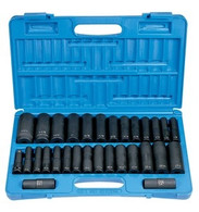 "Grey Pneumatic 1512DM 1/2"" Drive Deep Fractional & Metric Socket Set"