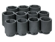 "Grey Pneumatic 9011D - 1"" Drive Deep Length Fractional Impact Set Sizes 3-1/8"" - 4"""