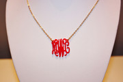 Necklace Monogrammed Acrylic with Silver or Gold Chain - Vine