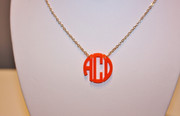 Necklace Monogrammed Acrylic with Silver or Gold Chain - Circle